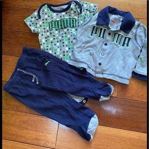 PUMA boy baby onsie, footed pants and jacket